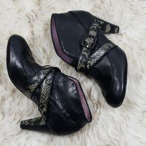 Taryn Rose Black leather snakeskin print booties 7
